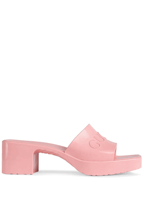 Gucci logo embossed sandals - PINK