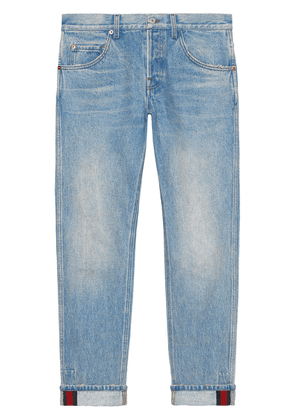 Gucci Tapered denim pant with Web - Blue