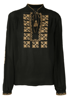 Nili Lotan embroidered bib blouse - Black