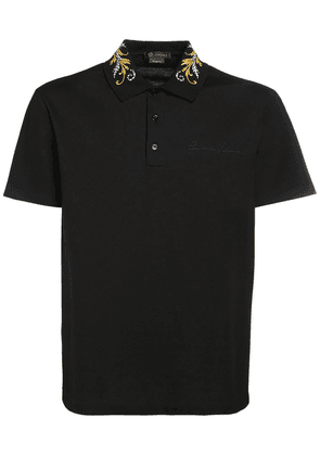 Baroque Logo Embroidered Cotton Polo