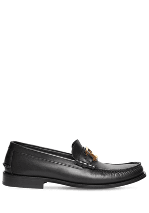 Metal Logo Leather Loafers