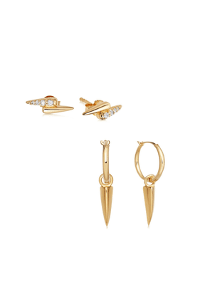 Gold Double Claw Earring Set