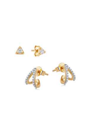 Gold Single Pave Wishbone Earring Set