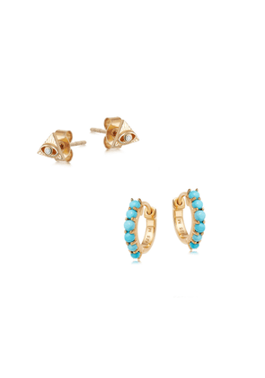 Gold Evil Eye and Turquoise Earring Set