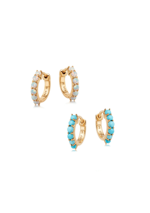 Gold Opalite and Turquoise Huggies Earring Set
