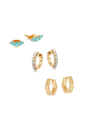 Gold Triple Stack Earring Set