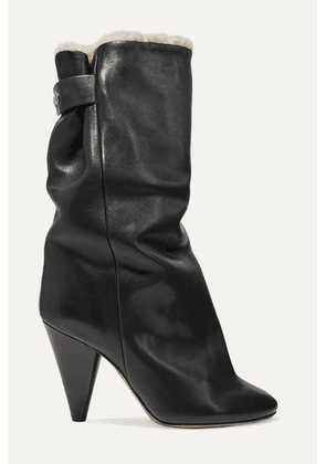 Isabel Marant - Lakfee Shearling-lined Leather Ankle Boots - Black