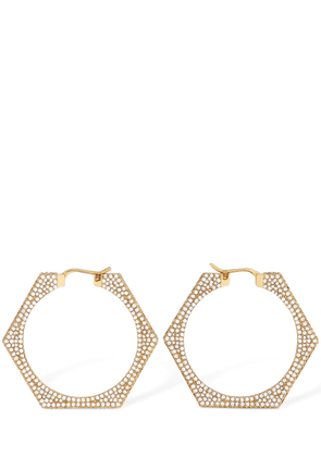 Bolt Crystal Hexagonal Hoops Earrings