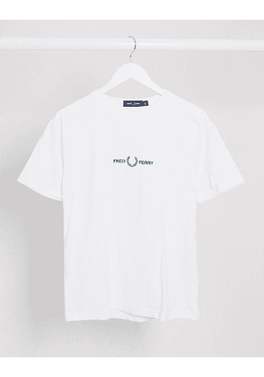 Fred Perry embroidered t-shirt in white-Black
