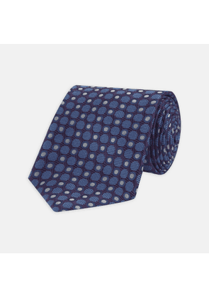 Plum and Blue Circle and Spot Silk Tie - OS