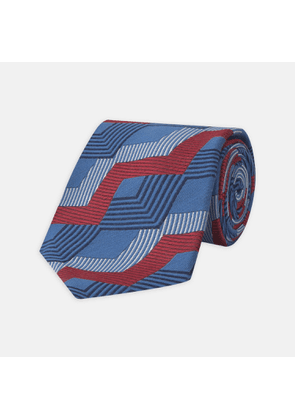Blue and Red Zig Zag Silk Tie - OS