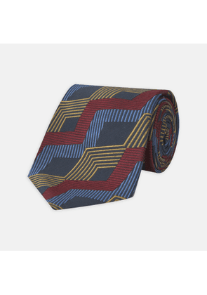 Navy, Red and Gold Zig Zag Silk Tie - OS