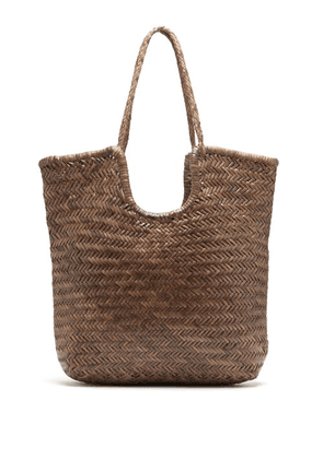 Dragon Diffusion - Triple Jump Small Woven-leather Basket Bag - Womens - Khaki