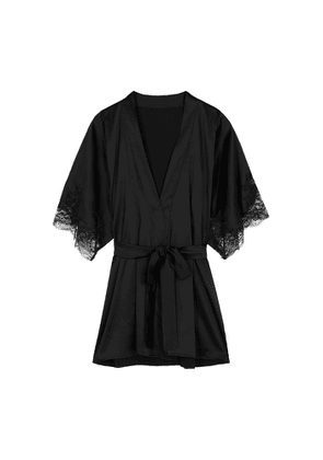 Fleur Of England Signature Black Silk-blend Robe