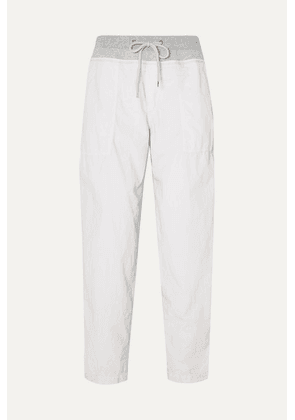 James Perse - Jersey-trimmed Cotton-blend Poplin Track Pants - Silver