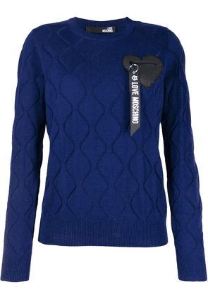 Love Moschino logo embroidered jumper - Blue