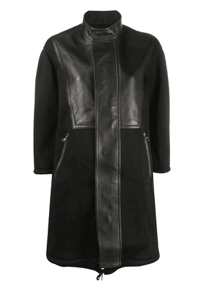 Neil Barrett panelled leather coat - Black