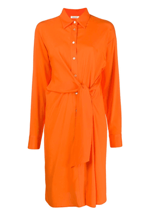 P.A.R.O.S.H. button-up knot detail shirt dress - ORANGE