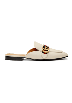 Gucci White Peyton Slippers