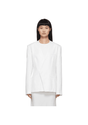 Haider Ackermann White Silk Collarless Blazer