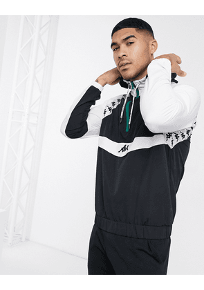 Kappa half zip overhead jacket in black and white-Multi