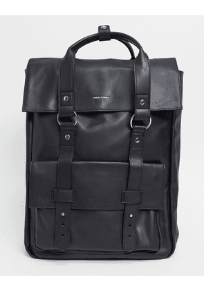 ASOS DESIGN backpack in black with front pocket and double straps
