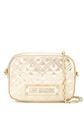 Love Moschino quilted-effect logo shoulder bag - GOLD