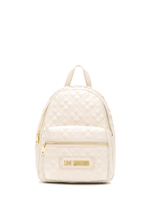 Love Moschino quilted-effect logo backpack - NEUTRALS
