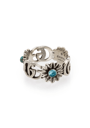 Gucci Double G floral-detail ring - SILVER