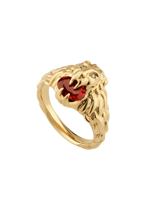 Gucci 18kt yellow gold diamond lion head ring