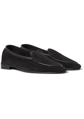 George Cleverley - Hampton Leather-Trimmed Suede Loafers - Men - Black