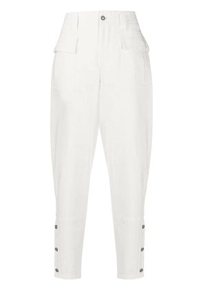 Dolce & Gabbana buttoned sides tapered trousers - White