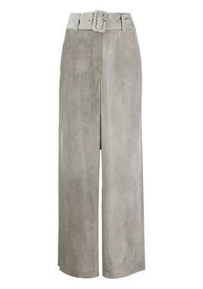Emporio Armani belted wide leg trousers - Grey