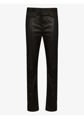 Tom Ford leather skinny-leg jeans - Brown