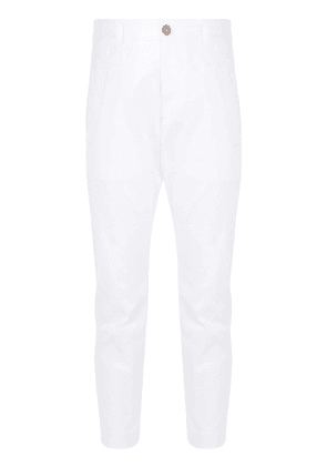 Dsquared2 rear logo print cropped trousers - White