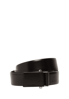 3.2cm Debossed Logo Leather Belt