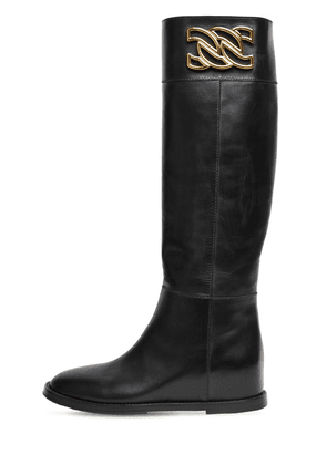 30mm C Chain Leather Tall Boots