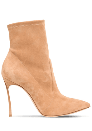 100mm Blade Stretch Suede Ankle Boots