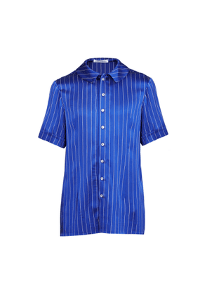 JIRI KALFAR - Navy Blue & White Stripe Short Sleeve Shirt