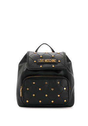 Love Moschino studded quilted backpack - Black
