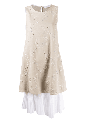 Fabiana Filippi layered pleated-hem dress - NEUTRALS