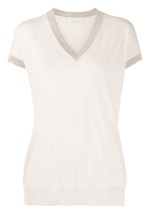 Fabiana Filippi contrasting trim V-neck knitted T-shirt - NEUTRALS