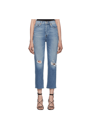 Re/Done Blue Originals Ultra High Rise Stove Pipe Jeans