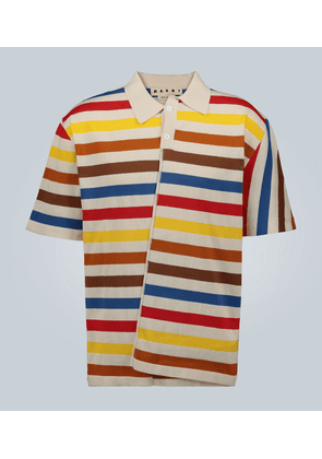 Reconstructed cotton-blend polo shirt