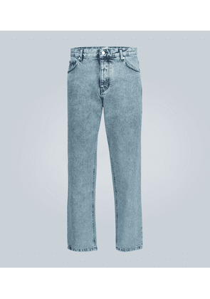 Tapered stonewashed jeans