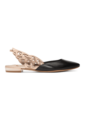 Sophia Webster Black and Rose Gold Angelo Ballerina Flats