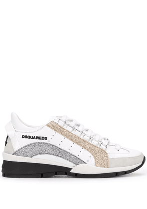 Dsquared2 glitter-panel low-top trainers - White