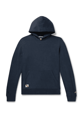 Tracksmith - Trackhouse Mélange Loopback Cotton-Blend Jersey Hoodie - Men - Blue