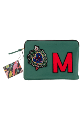 Laines London - Embellished Arrow Heart Personalised Classic Leather Clutch Bag - Medium - Green / Red