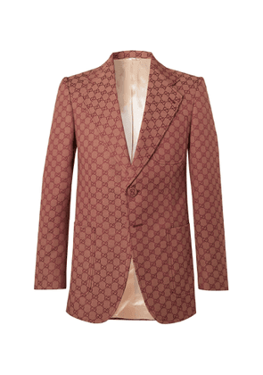 Gucci - Brick Logo-Jacquard Cotton-Blend Blazer - Men - Red